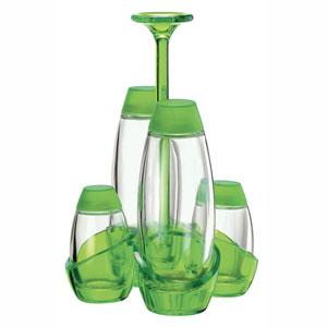 Menage Olio Aceto sale pepe 13x13xh22 cm 180cc 52cc Happy Hour contenitori in vetro Verde Acido Opaco
