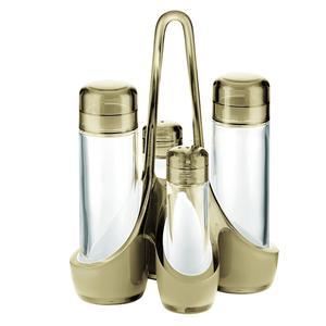 Menage bicolore 18.5x14xh24 cm 160 cc- 50 cc bottiglie in vetro, colore sabbia