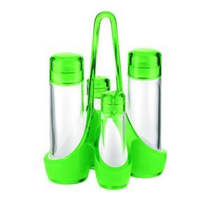 Menage bicolore 18.5x14xh24 cm 160 cc- 50 cc bottiglie in vetro Verde
