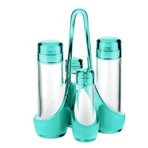 Menage bicolore 18.5x14xh24 cm 160 cc- 50 cc bottiglie in vetro, colore Azzurro mare
