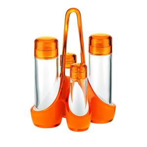 Menage bicolore 18.5x14xh24 cm 160 cc- 50 cc bottiglie in vetro Arancio