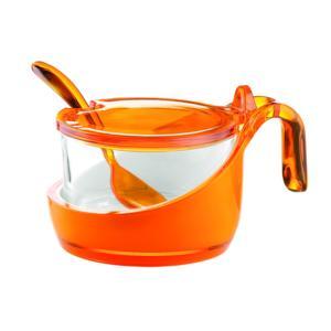 Formaggera Zuccheriera marmellatiera 14x10.5xh8 - 200 cc Vintage con cucchiaino Arancio