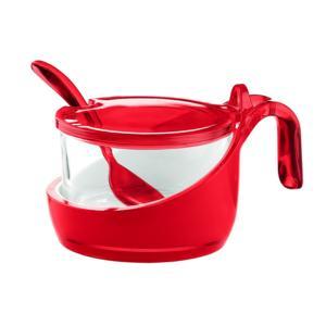 Formaggera Zuccheriera marmellatiera 14x10.5xh8 - 200 cc Vintage con cucchiaino Rosso