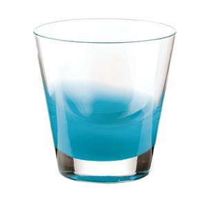 Bicchieri Vino diametro 8.5xh9 cm - 220 cc Gocce in vetro cristallino adatto alla lavastoviglie 6 pezzi azzurro mare