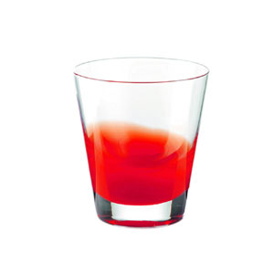 Bicchieri Vino diametro 8.5xh9 cm - 220 cc Gocce in vetro cristallino adatto alla lavastoviglie 6 pezzi Rosso Trasparente
