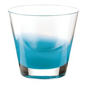 Bicchieri Acqua diametro 9xh10 cm - 320 cc Gocce in vetro cristallino adatto alla lavastoviglie 6 pezzi Azzurro mare
