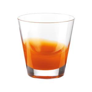 Bicchieri Acqua diametro 9xh10 cm - 320 cc Gocce in vetro cristallino adatto alla lavastoviglie 6 pezzi Arancio Trasparente