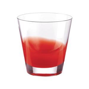Bicchieri Acqua diametro 9xh10 cm - 320 cc Gocce in vetro cristallino adatto alla lavastoviglie 6 pezzi Rosso Trasparente