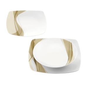 Piatti AQUA 18 pezzi 6 fondi 6 piani 6 frutta realizzati in porcellana bianca con decoro sottosmalto Sabbia