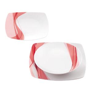 Piatti AQUA 18 pezzi 6 fondi 6 piani 6 frutta realizzati in porcellana bianca con decoro sottosmalto Rosso