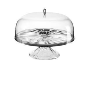 Alzata, Tortiera Media con campana diametro 27xh26 cm LOOK portadolci crostate conserva la fragranza Trasparente