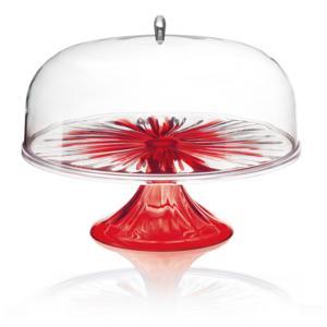 Alzata grande con campana Piccola in SAN Rotonda Ø 27xh25.6 cm Colore Rosso Trasparente