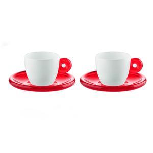 Tazzine da caffe con piattini 25x17xh9 cm - 50 ccc Gocce set due tazzine in porcellana bianca Rosso