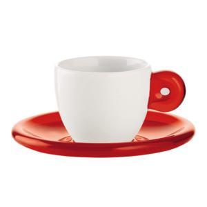 Tazzine caffè e piatto Gocce 6 pezzi Rosso Trasparente