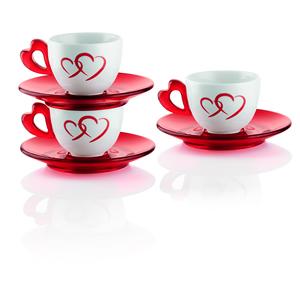 Tazzine caffe Love set 6 tazzine con piattini