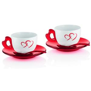 Tazze Cappuccino Love set 2 tazze con piattini e cucchiaini