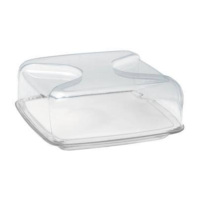 Copriformaggio quadrato 25.5x25.5xh11.5 cm Gocce vassoio tagliere in porcellana bianca colore trasparente