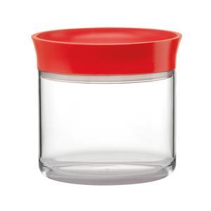 Barattolo Ovale Small 12.5x9.5xh12,5 cm - 500cc In Materiale Plastico SAN e PE rosso