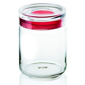Barattolo in vetro Ø 12xh13,5 cm - 750cc My Kitchen con tappo salvaroma in plastica Rosso