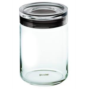 Barattolo in vetro Ø 12xh22.5 cm - 1500cc Latina con tappo salvaroma in plastica Grigio