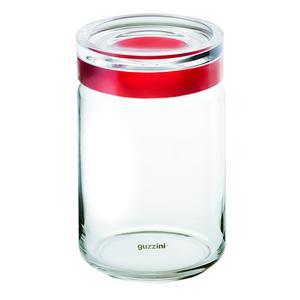 Barattolo in vetro XL Ø 12xh22.5 cm - 1500cc Latina con tappo salvaroma in plastica rosso