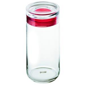 Barattolo in vetro per Spaghetti XXL Large diametro 12xh32 cm - 1900cc Latina con tappo salvaroma Rosso