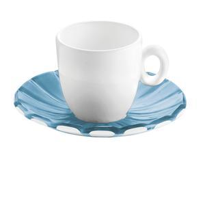 Tazzine da caffé Set 2 Pezzi 12xh6,3 cm - 90 cc con piattino in SMMS e tazzina in Porcellana Azzurro Mare