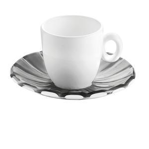 Tazzine da caffé Set 2 Pezzi 12xh6,3 cm - 90 cc con piattino in SMMS e tazzina in Porcellana Grigio Cielo