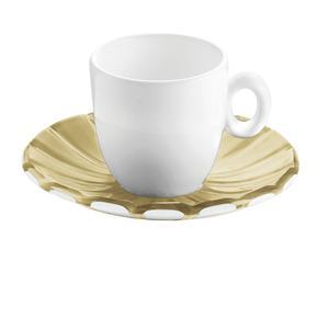 Tazzine da caffé Set 6 Pezzi 12xh6,3 cm - 90 cc con piattino in SMMS e tazzina in Porcellana Sabbia