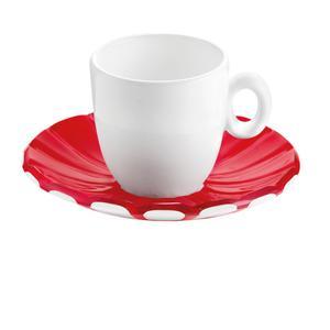 Tazzine da caffé Set 6 Pezzi 12xh6,3 cm - 90 cc con piattino in SMMS e tazzina in Porcellana Rosso