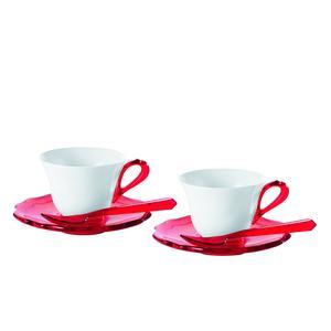 Tazzine da Caffe Set 2 pezzi con cucchiaini 25x17xh9 cm Belle Epoque porcellana bianca rosso
