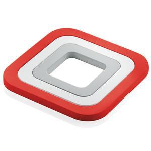 Sottopentola 3in1 incastrabili in silicone 15x15x h 1 cm. colore rosso bianco