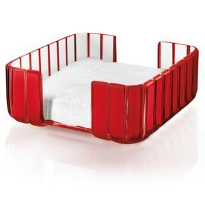 Portatovaglioli GRACE 20x20xh10 cm in materiale plastico trasparente Rosso