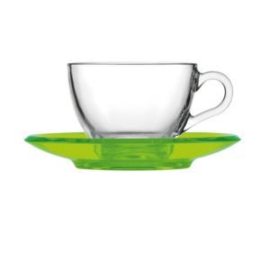 Tazza da cappuccino thè 15xh7 cm - 238 cc con piattino in san Verde