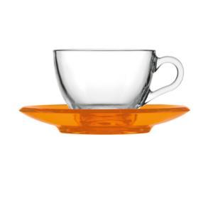 Tazza da cappuccino thè 15xh7 cm - 238 cc con piattino in san Arancio