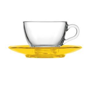 Tazza da cappuccino thè 15xh7 cm - 238 cc con piattino in san Giallo