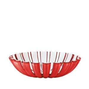 Cestino basso GRACE diametro 25 x h6.5 cm Rosso Trasparente