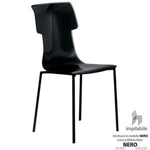 Sedia My Chair 53.5x41xh89.5 cm Guzzini struttura Colore Nero Seduta colore Nero