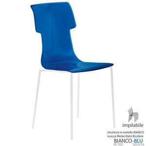 Sedia My Chair 53.5x41xh89.5 cm Guzzini struttura Colore Bianco Seduta colore Blu Cobalto