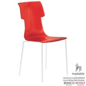 Sedia My Chair 53.5x41xh89.5 cm Guzzini struttura Colore Bianco Seduta colore Rosso Trasparente