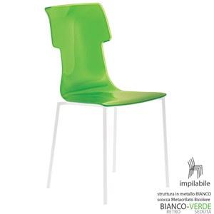 Sedia My Chair 53.5x41xh89.5 cm Guzzini struttura Colore Bianco Seduta colore Verde Acido