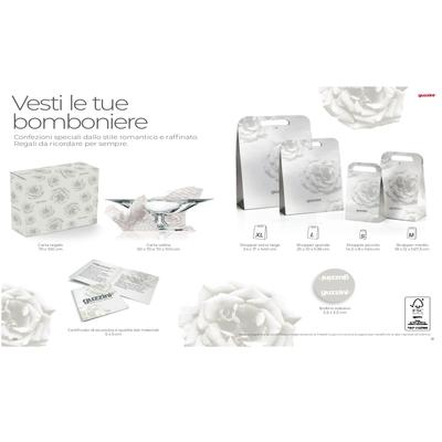 Shopper set 15 Pezzi x Bomboniere in cartone serigrafato 18x12xh27,5 cm bianco opaco