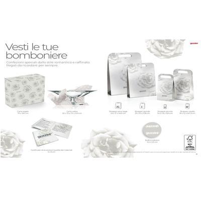 Shopper set 15 Pezzi x Bomboniere in cartone serigrafato 25x10xh36 cm bianco opaco