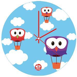 Orologio da parete per bambini in vetro colorato Sky Ø35
