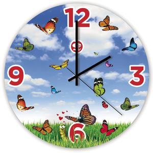 Orologio da parete per bambini in vetro colorato Loverfly Ø35