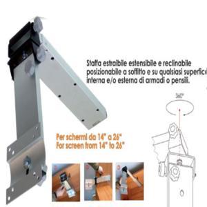 Staffa porta tv per camper o imbarcazioni w4 in alluminio a soffitto telescopica regolabile e - Porta tv da soffitto ...