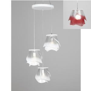 lampada a sospensione a tre lampade ROSA PENDEL 3 - 18xh23cm con borchia applicabile a soffitto colore rosso