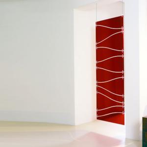 Separè Telaio 75xh207 cm in metacrilato Rosso Trasparente sospeso
