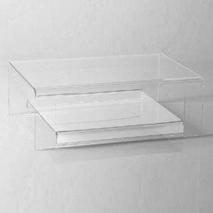 Tavolino basso Porta TV 75x52xh26 cm ELVIN struttura in metacrilato trasparente e dettagli in metallo cromato Trasparente
