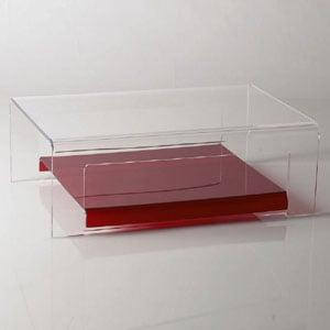 Tavolino basso Porta TV 75x52xh26 cm ELVIN struttura in metacrilato trasparente e dettagli in metallo cromato Rosso Trasparente